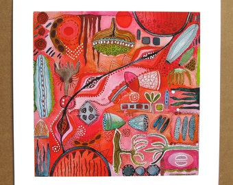Giclee Print on Paper, contemporary print, very lively and colorful, reds, pinks