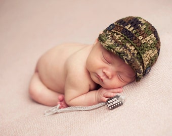 Baby Army Hat, Newborn Army Hat, Camo Baby Hat, Camo Hat, Brimmed Baby Hat