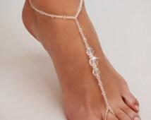 Barefoot Sandals, Beaded barefoot sandals, Beach wedding Barefoot Sandal, Pearl Barefoot shoes, Bridal Barefoot Sandals, footless sandal