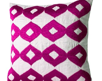Decorative Throw Pillow -Hot Pink Pillows -White Silk Fuchsia Ikat Embroidered Pillow -Accent Pillow -18x18 -Couch Pillow -Gift -Ikat Pillow
