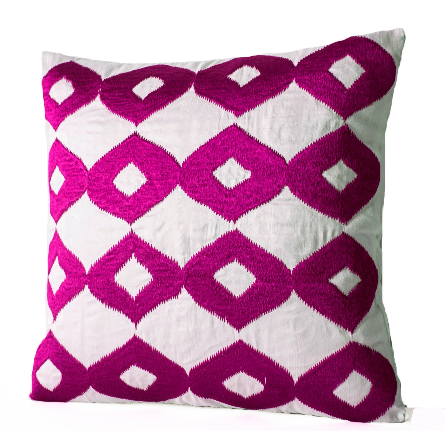 Decorative Throw Pillow Hot Pink Pillows White Silk Fuchsia