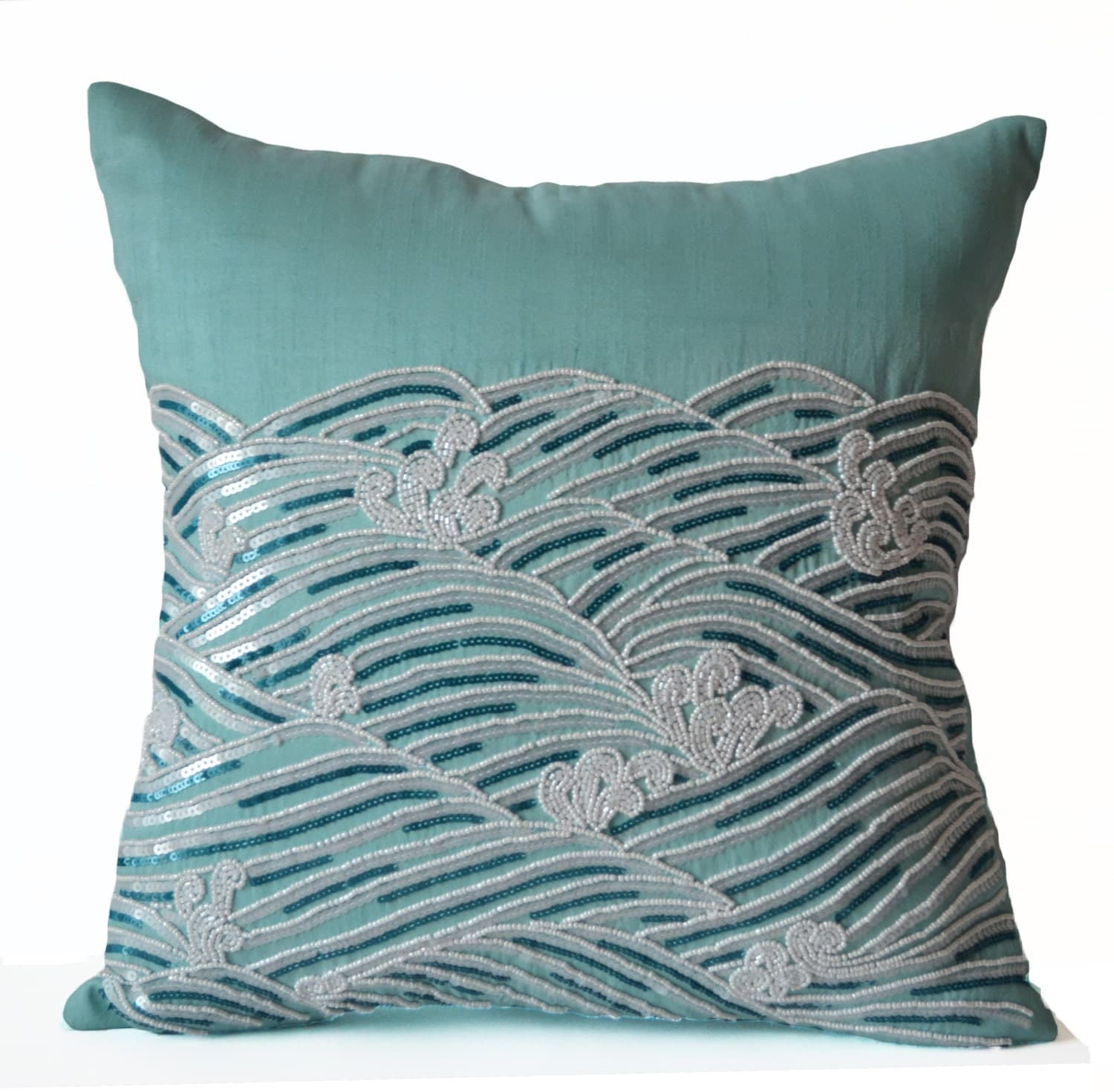 Decorative pillow cover teal throw pillows sequin accent for Decor pillows