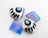 Large 50s Silver Overlay Bear Paw Turquoise Earrings, w Clip Earring Backs, Large, Hallmarked, Southwestern USA.