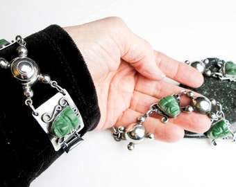 20s Art Deco Necklace & Bracelet, Signed Elna, Mexican Carved Jade, 980 Silver, Art Deco, Pre Colombian Design.