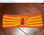 Closing Sale Fall Crochet Ear Warmer - Women's Striped Earwarmer - Orange, Yellow, Burgundy