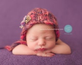 Newborn baby girl hat bonnet - red pink purple traditional photograph prop shoot 0 to 14 days - pure wool fall winter spring hand knit gift