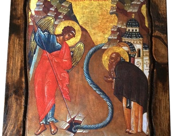 Archangel Michael - Miracle at Chonae - Orthodox Byzantine icon on wood handmade (22.5 cm x 17 cm)