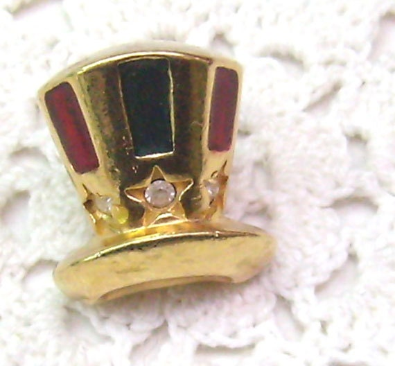 Top Hat Pin: Vintage TOP HAT Pin... Enamel Tie Tack...Rhinestone Lapel