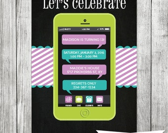 Chalkboard Teen Cell Phone Birthday Invite - 5x7 JPG