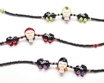 Roller Derby Necklace, Roller Girl Necklace, Roller Girl Jewelry, Handmade Roller Derby, Roller Derby Jewelry, Lampwork Jewelry, Glass Beads