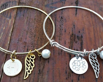 Engraved Monogram Bangle Bracelet with Charm - Personalized Jewelry, Initials Bracelet, Bridesmaid Gift, Silver and Gold Tone