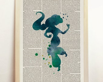 Jasmine Alladin Disney Giclee Art Print Watercolor Children's Silhouette Blue Home Decor Print Upcycled Dictionary Book A4 8.3 x 11.7 in