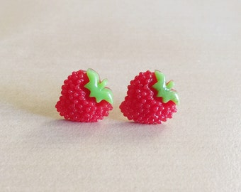 Strawberry Earrings - Silver Plated Studs, 13mm x 11mm x 5mm Resin Cabochons, Fruit, Red Strawberries, Sweet, Dessert, Kawaii, Kitsch