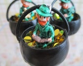 St. Patrick's Day Leprechaun Holding a Book Sitting in a Pot of Gold - Dollhouse Miniatures