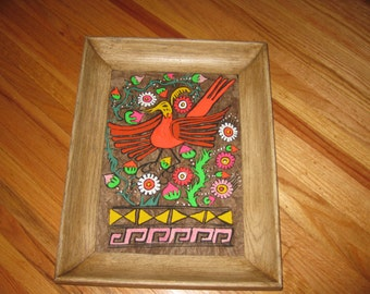 "MEXICAN BARK ART Brightly Colored Phoenix In Antique Shadowbox Wood Frame 17 3/4"" x 13 1/2"""