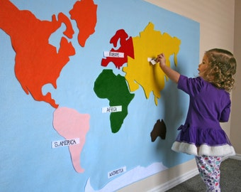 Montessori Felt Map of World Continents. Includes Spanish or English Labels + hanging strips. 17 Pieces. 3x5 ft.