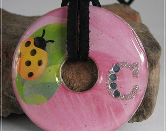 Large Washer Pink with Lady Bug on Leaf and Initial C1522
