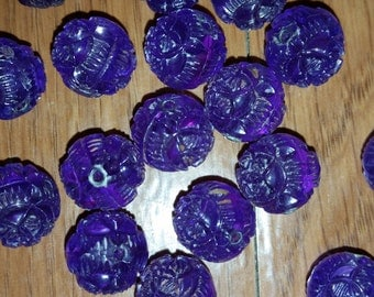 Purple Vintage Acrylic Bead Destash Lot - 18 beads