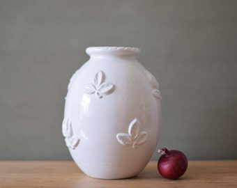 Michael Andersen Denmark - tall vase - flower motif  - white - fifties - mid century