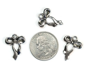 Antique Silver Bows Charms 6 QTY