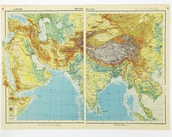 Southern Asia Map, Large 1951 Vintage Map of Southern Asia, old map, Zenithal Equidistant Projection map