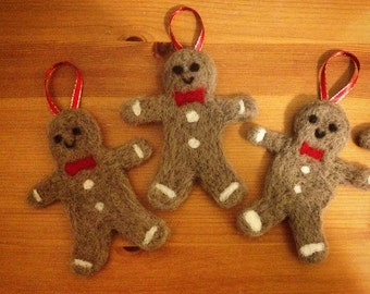 Christmas Tree Decorations - Gingerbread Man, Needle Felted Gingerbread Men!
