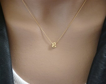 Tiny lowercase Initial Necklace, Gold Letter Personalized Initial necklace, Initial jewelry, Initial pendant, Bridesmaid gift