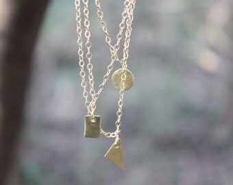 Dainty layering necklace, geometric shapes, everyday necklace, delicate geometric necklace.
