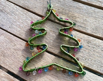 Multicolored Beaded Wire Christmas Tree Ornament OR-121114-09