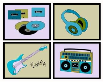 Teen Music Art, Tween Room Decor, Wall Art Prints, Teen Art 4 8X10 Any Color