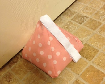 DOOR STOP- Pink with White Polka Dots-Oil Cloth