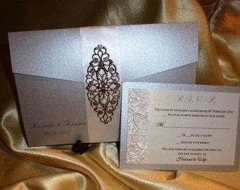 "Silver  Wedding Invitation (sample) -"" Silver dreams """