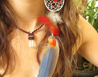 Single Long Blue and Red Feather Earring with natural feathers and seeds 27cm