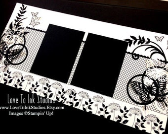 Stunning Black and Vanilla 12 x 12 Scrapbook Page Layout with Butterflies and Flourishes