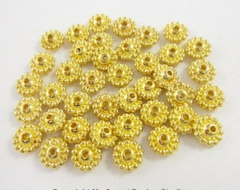 40pcs Rondelle Lines Dotted Edge Gold Plated Beads (F1781)