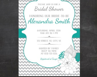 Bridal Shower Invitation - Chevron and Floral Custom Printable