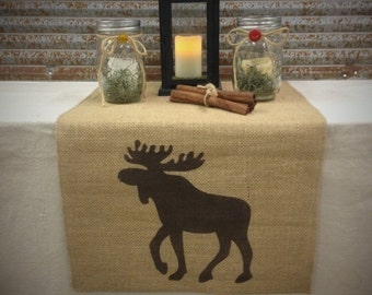 "Burlap Table Runner 16"" or 18"" wide with a Moose on each end - Cabin decor Lodge decorating Hunting cabin Moose decor Home decor"