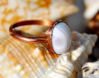 Blue Lace Agate Ring - Blue Lace Agate - Agate Ring - Ring - Blue lace Agate Jewelry - Copper Ring - Simple Ring - Size 10.75 Ring