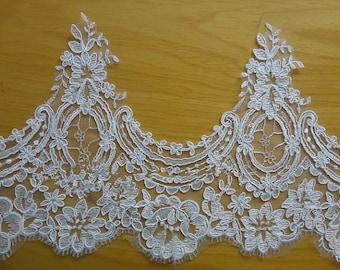 Alencon lace trim in ivory for bridal veil, headpiece, wedding gown belt