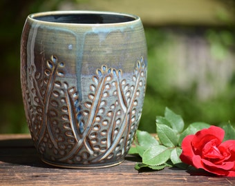 stoneware vase / utensil holder - sale! 20% off original price