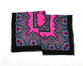 paisley print scarf / pink & black square scarf / flowered scarf