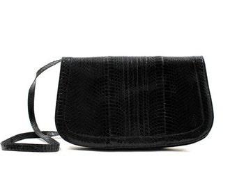 black snakeskin shoulder bag / convertible clutch purse