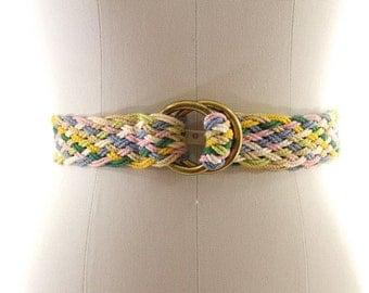 SALE pastel woven belt / colorful braided belt