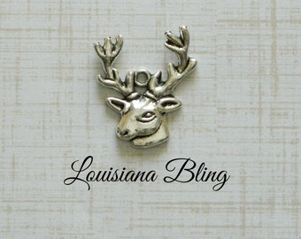 Deer Charms With Antlers, Reindeer Charms, Caribou Charm, 25x25mm 24 Pieces Antique Silver Finish 26-15-AS