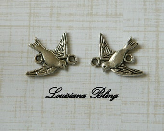 12 Pieces Bird Charms, Swallow Bird Charms,Double Sided Reversible Bird Two Loop Charm 18x18mm  Antique Silver Finish 17-15-AS