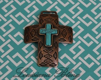 20-16-C  Large Bold Cross with Turquoise Accents 69x49mm Antique Copper Finish (1) Pice Per Pack Diamond Detail