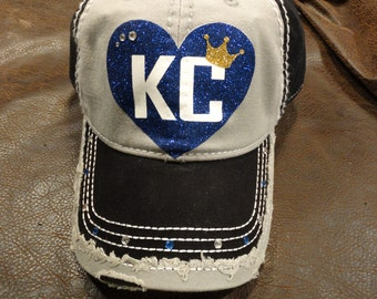 I heart KC Baseball Glitter hat