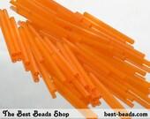 15g (70pcs) Silky Orange Bugle Beads 30mm Czech Glass Seed Beads