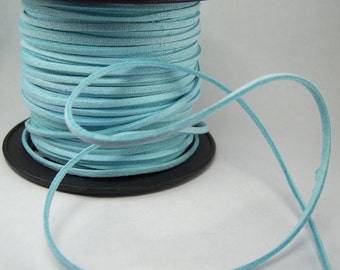 Light Aqua Blue Faux Suede Cord 20 Feet USA Seller
