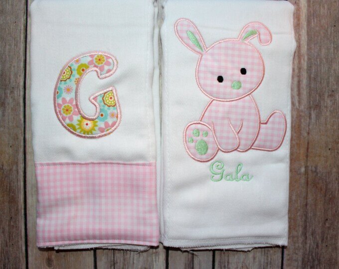 Bunny Burp Cloth Set, Baby Girl Burp Cloth, Monogrammed Burp Cloth, Bunny Rabbit Baby Gift, Pink Green Baby Girl Gift, Baby Shower, New Baby